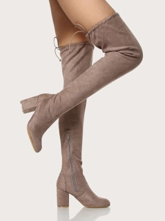 Zip Up Drawstring Thigh High Boots TAUPE