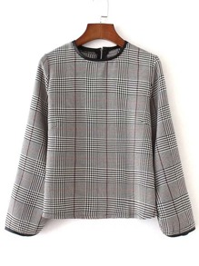 Contrast PU Piping Plaid Top
