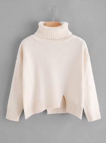 Turtleneck Raw Cut Dip Hem Sweater