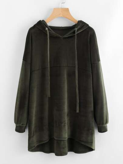 Hooded Drawstring Velvet Dip Hem Sweatshirt