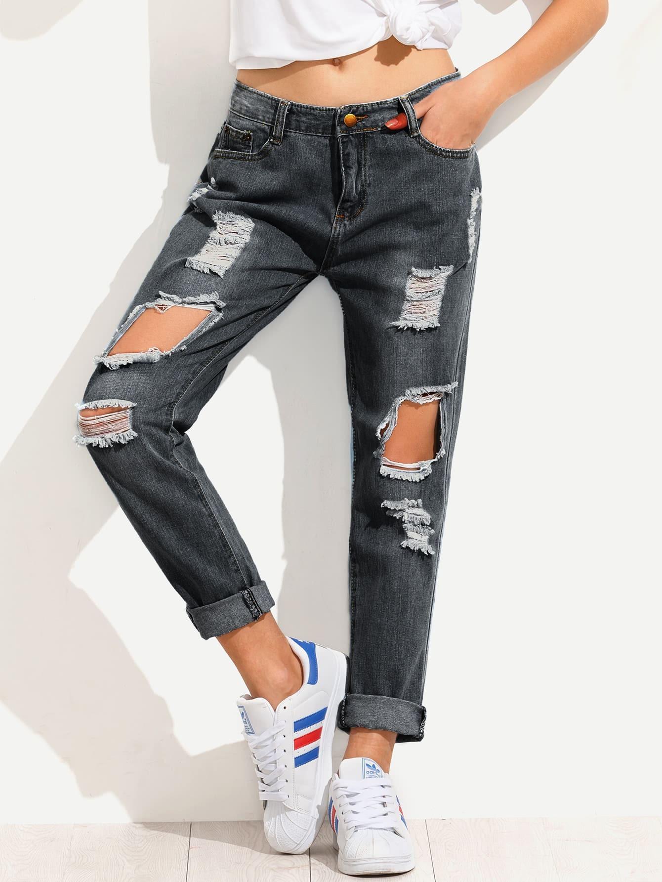 Dark Wash Destroyed Jeans -SheIn(Sheinside)
