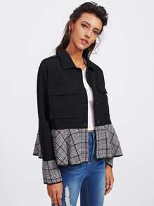Houndstooth Plaid Ruffle Trim Jacket