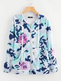 Flower And Camo Print Hoodie Jacket