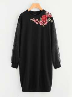 Embroidered Flower Patch Mesh Sleeve Long Sweatshirt