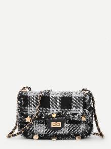 Star Detail Gingham Print Chain Bag