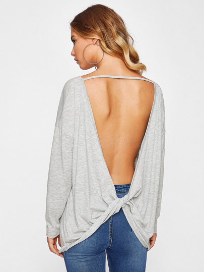 Drop Shoulder Twist Open Back Slub Tee
