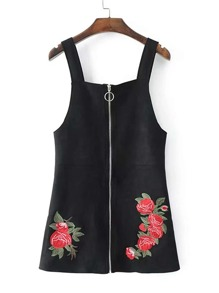 Flower Embroidery Zipper Up Suede Dungaree Dress
