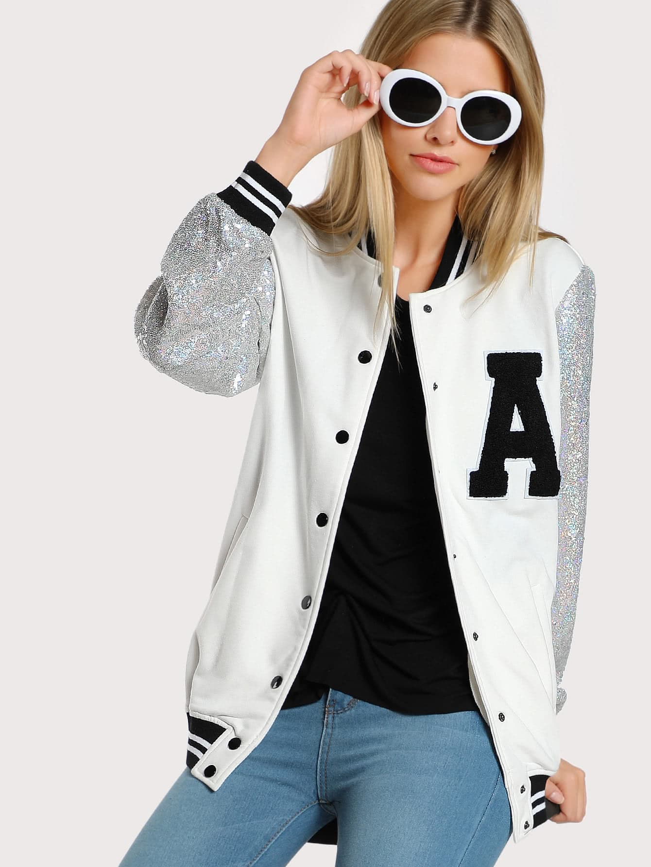 Image of A Patch Sequin Sleeve Stripe Trim Baseball Jacket