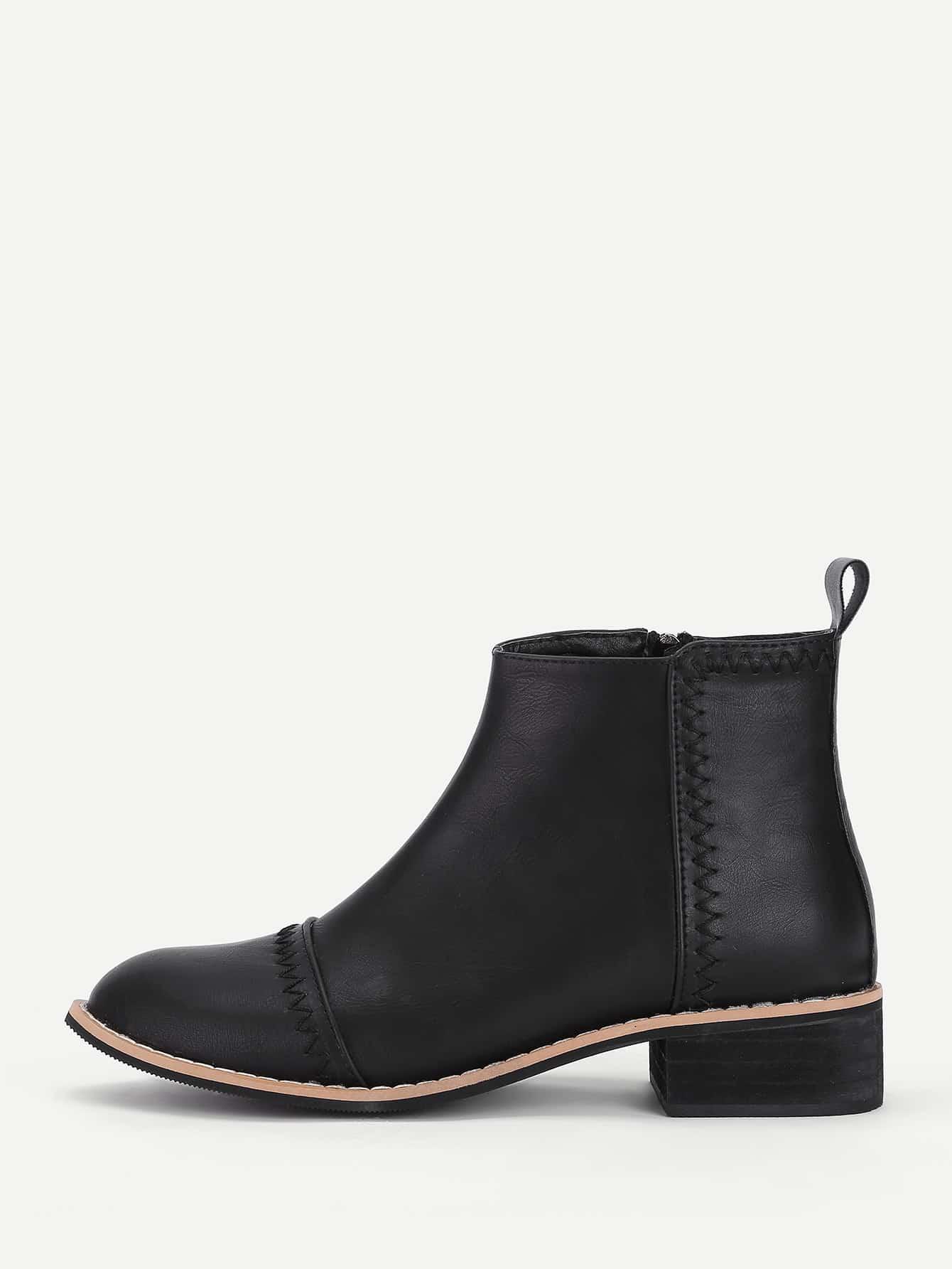 все цены на Stitch Detail Block Heeled Ankle Boots