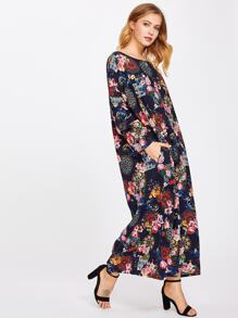 Botanical Print Full Length Dress