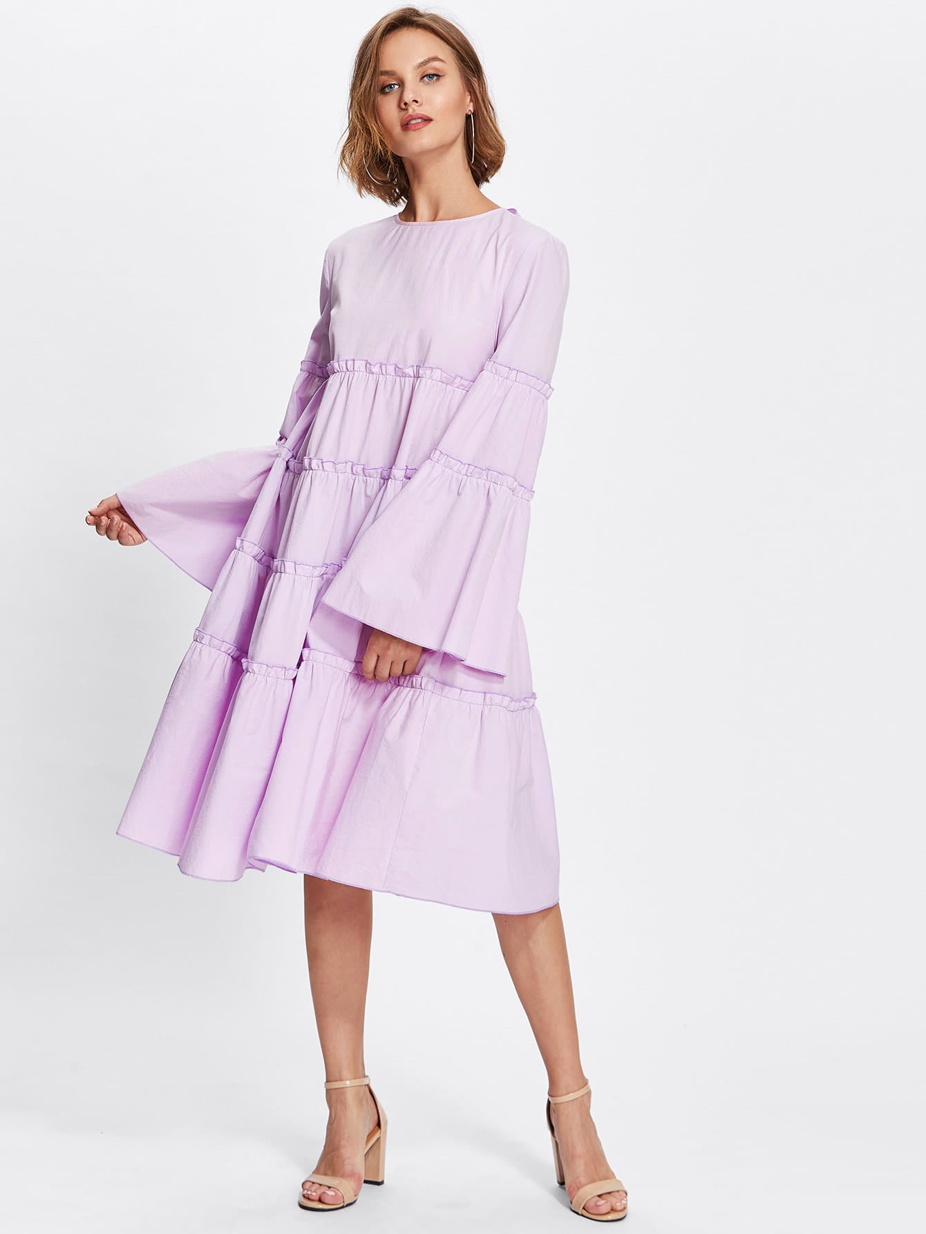 Bow Tie Back Fluted Sleeve Frilled Tiered Dress v notch pearl leaf chain detail fluted sleeve dress