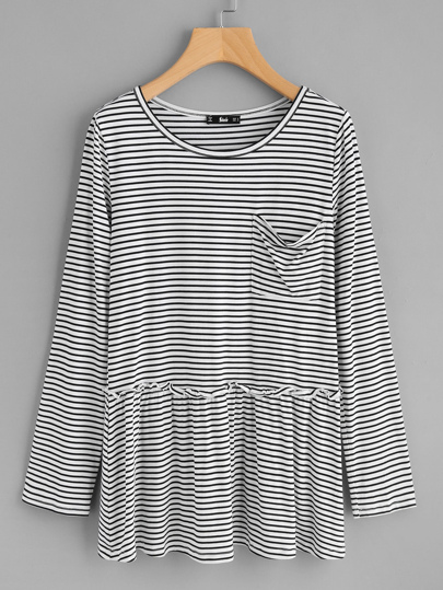 Pocket Front Frill Detail Striped Smock Top