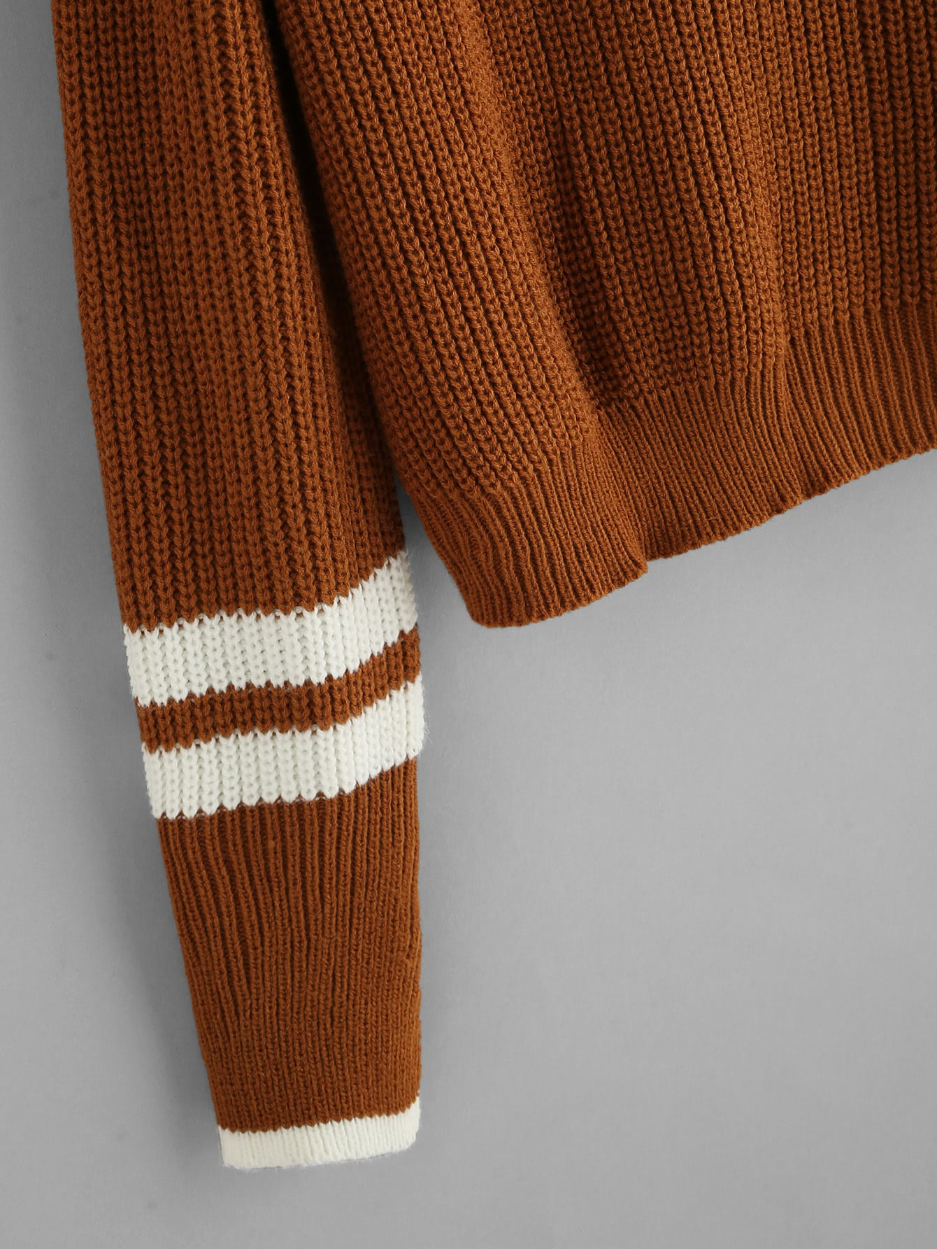 Striped Contrast Trim Cable Sweater