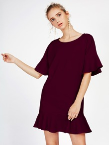 Frill Trim Drop Hem Dress