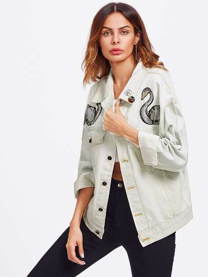 Sequin Patch Bleach Wash Denim Jacket With Badges