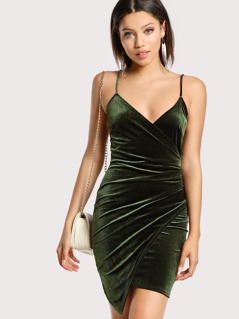 Velvet V-Neck Spaghetti Strap Dress GREEN