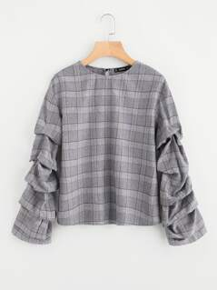 Buttoned Keyhole Back Gathered Sleeve Plaid Top