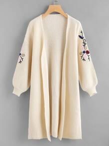 Drop Shoulder Slit Side Embroidery Cardigan