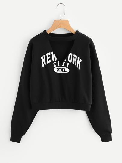 Cut Out Choker Neck Slogan Print Crop Pullover