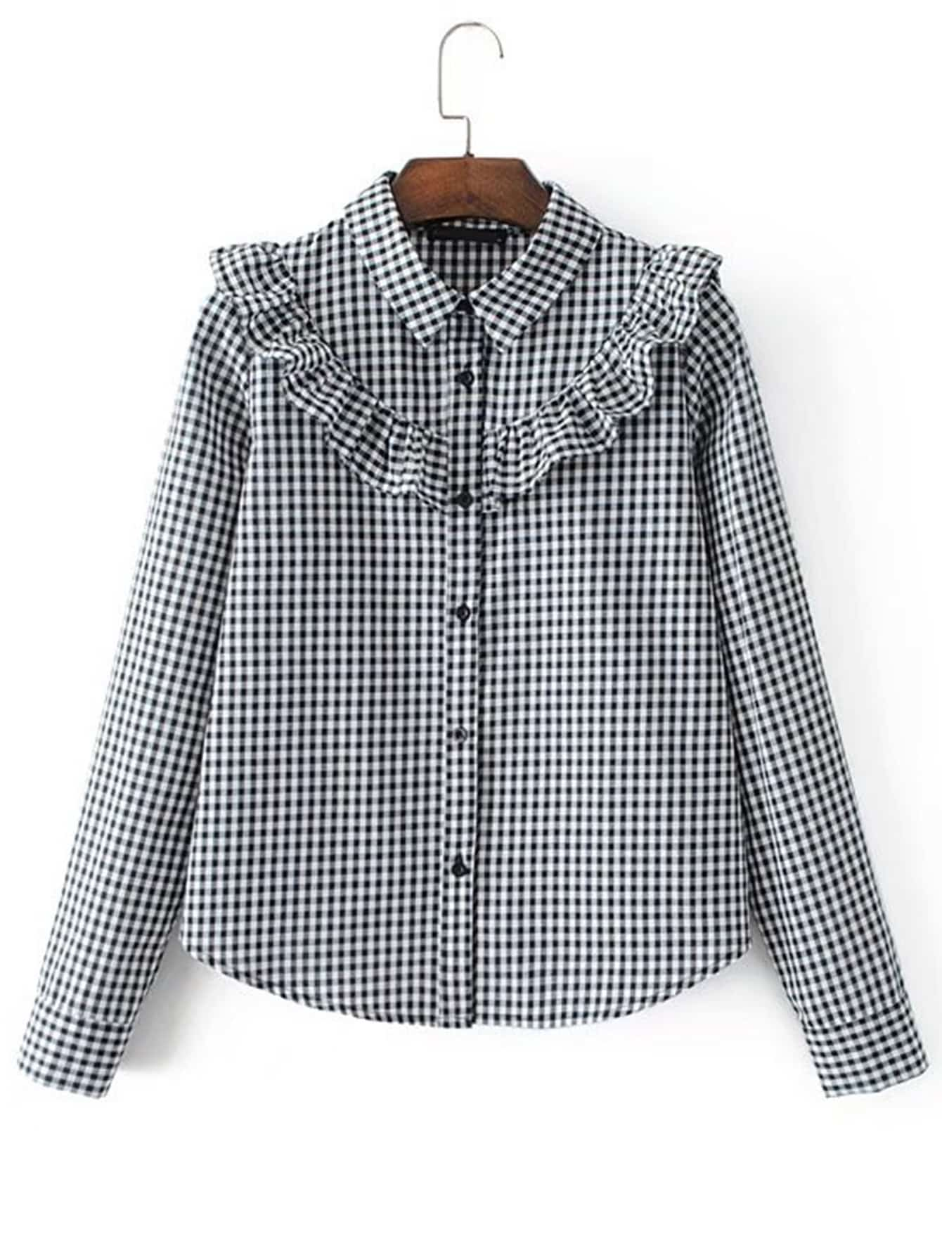 Ruffle Detail Gingham Blouse