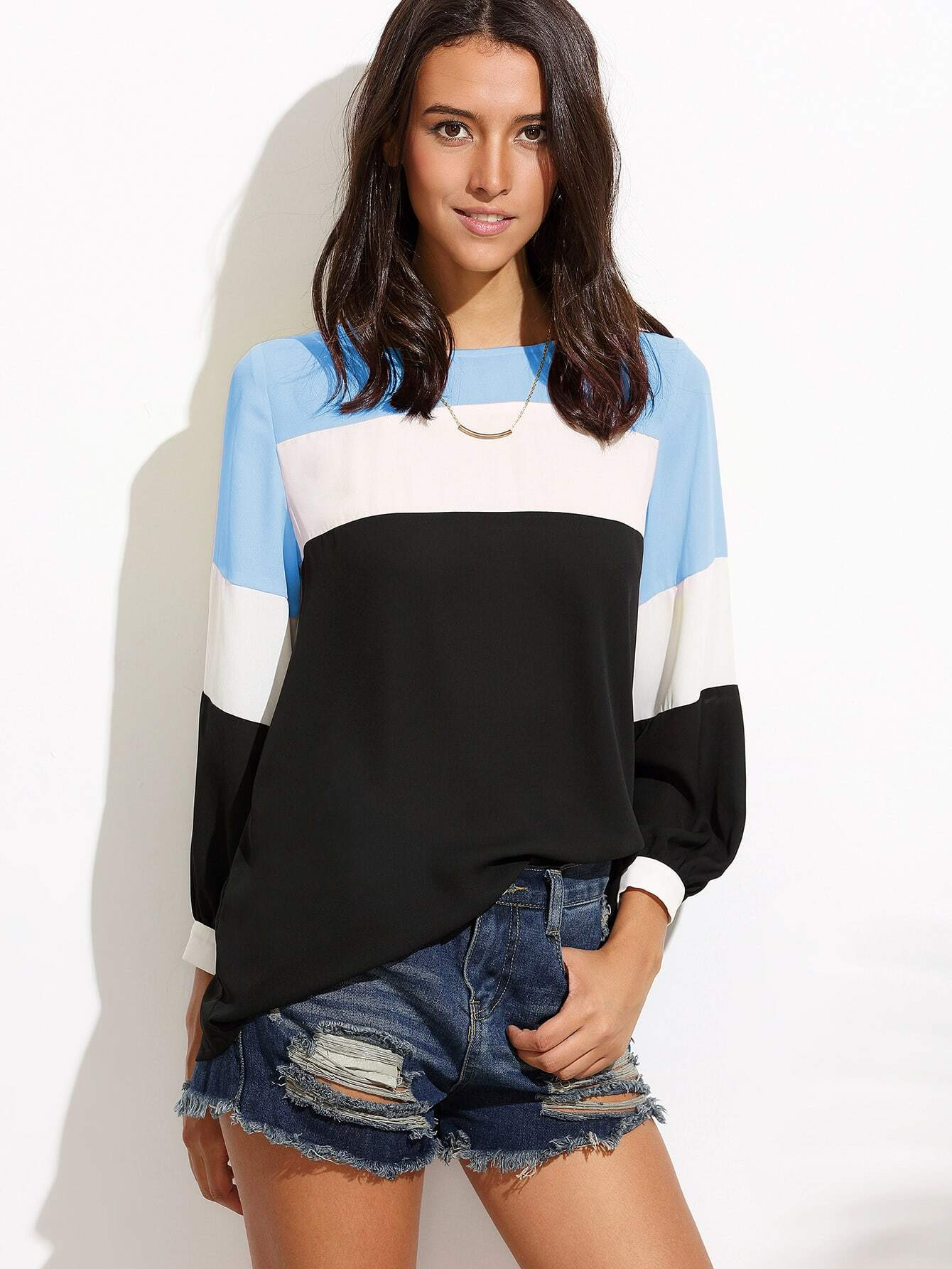 Color Block Cut And Sew Blouse cut and sew color block jumper