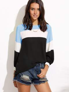 Color Block Cut And Sew Blouse