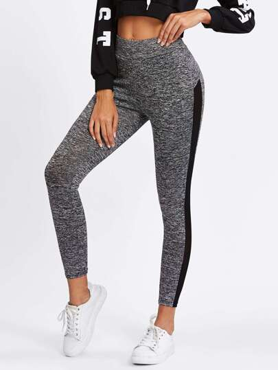 Mesh Panel Space Dye Leggings