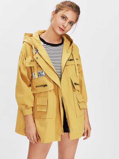 Hooded Patch Detail Trench Coat