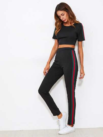Side Striped Crop Tee With Pants