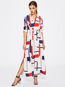 Geo Print V Neckline Tie Waist Shirt Dress