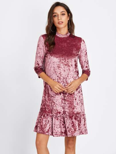 Mock Neck Frill Hem Crushed Velvet Dress