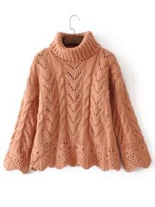Scalloped Trim Turtleneck Crochet Knitwear