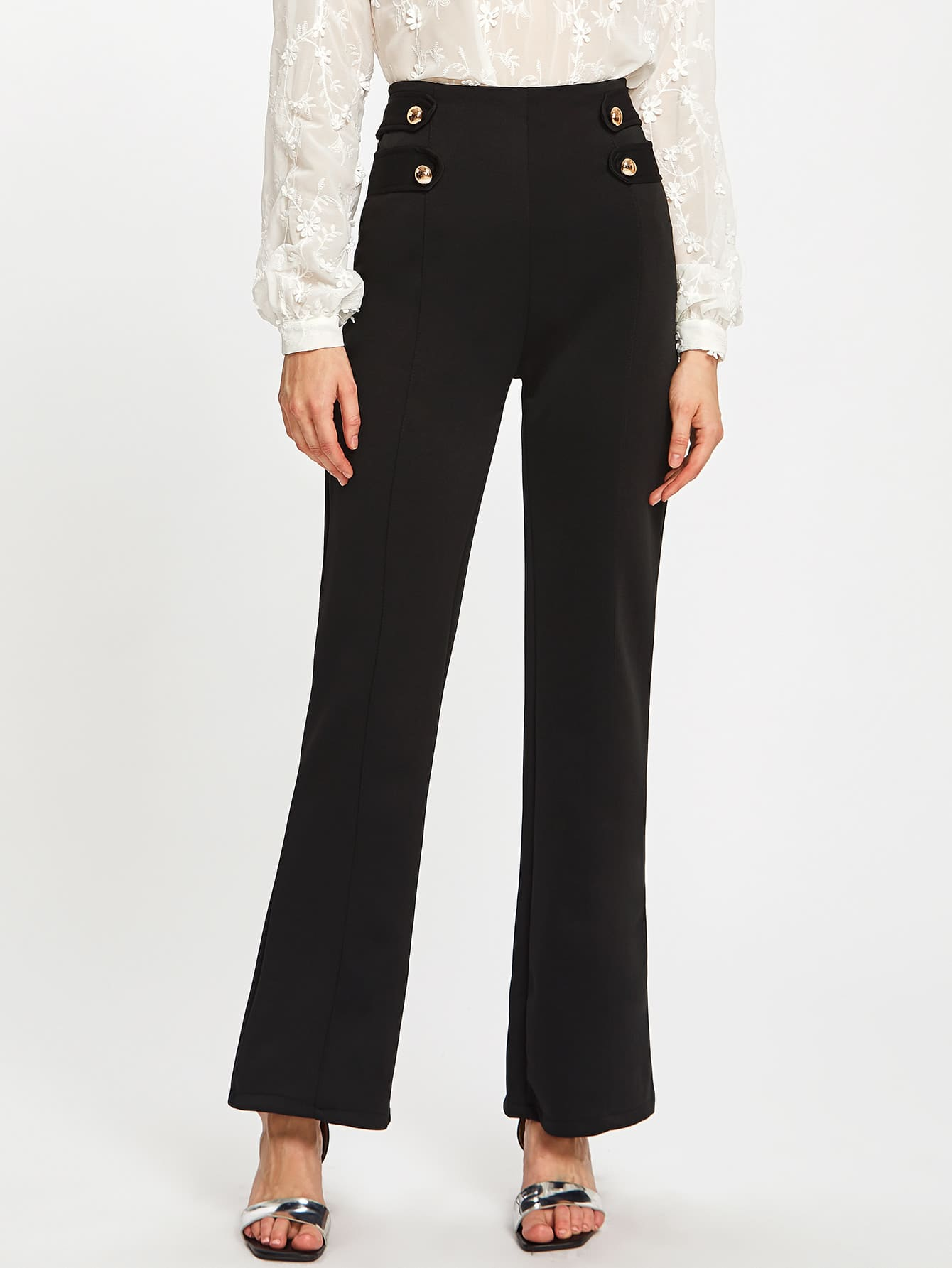 Image of Button Detail Wide Leg Pants