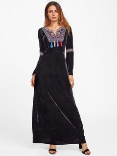 Tasseled Embroidered Yoke Bell Sleeve Velvet Dress