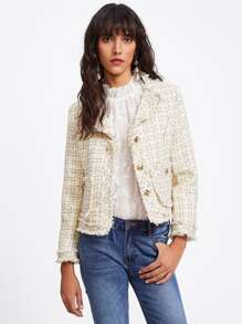 Raw Hem Pocket Side Blazer