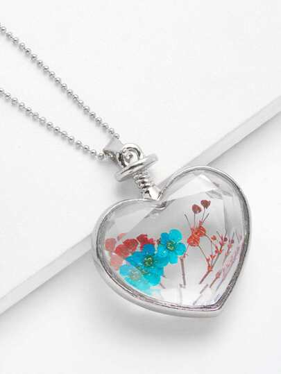 Glass Flower Heart Pendant Chain Necklace