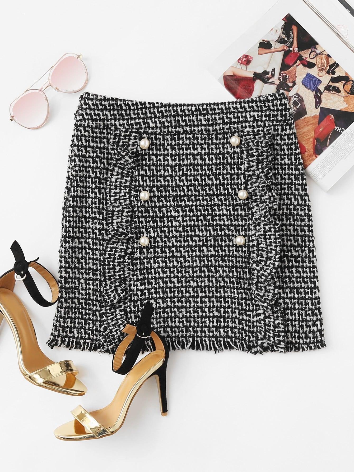 Pearl Button Detail Ruffle Trim Tweed Skirt frayed trim open front tweed blazer