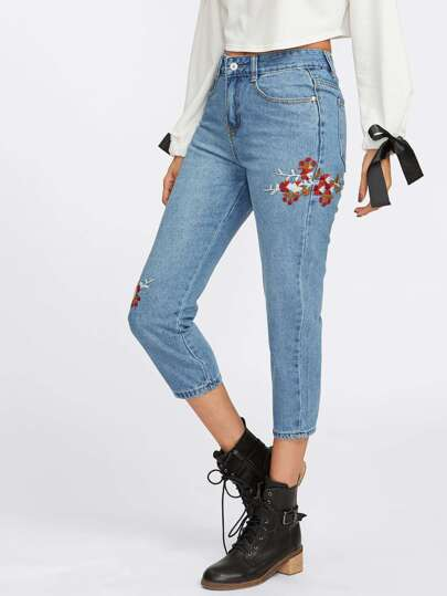 Botanical Embroidered Jeans