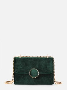 Round Button Velvet Flap Crossbody Bag