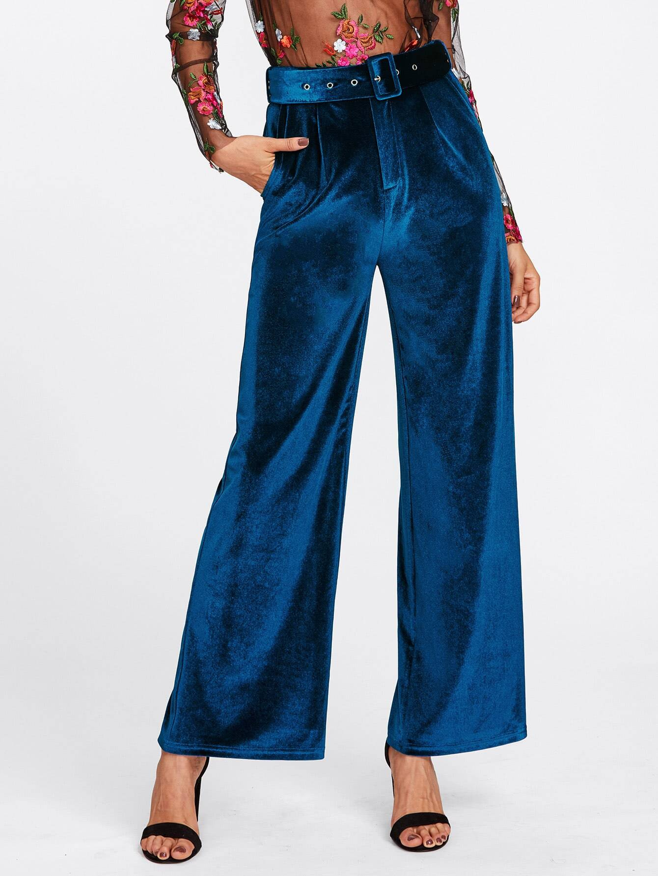 Image of Buckle Belt Detail Velvet Palazzo Pants