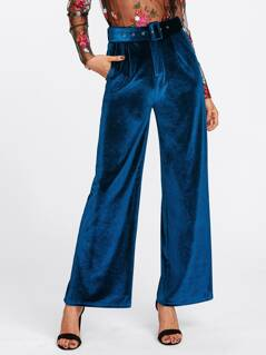 Buckle Belt Detail Velvet Palazzo Pants