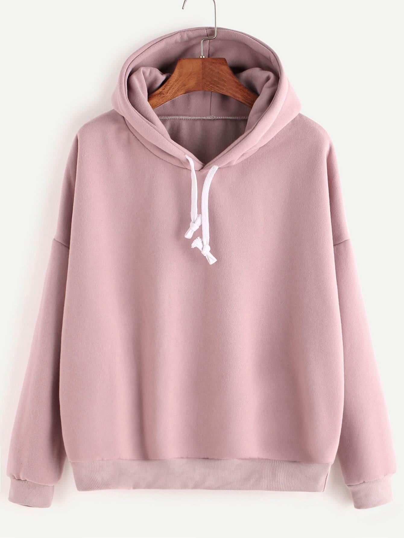 Hooded Drop Shoulder Sweatshirt drop shoulder frilled sleeve sweatshirt