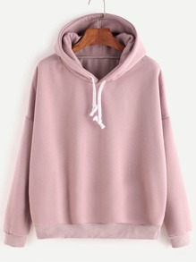 Pink Hooded Drop Shoulder Sweatshirt
