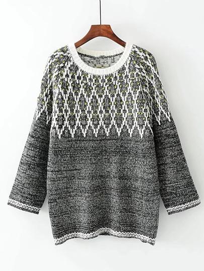 Geometric Pattern Raglan Sleeve Sweater