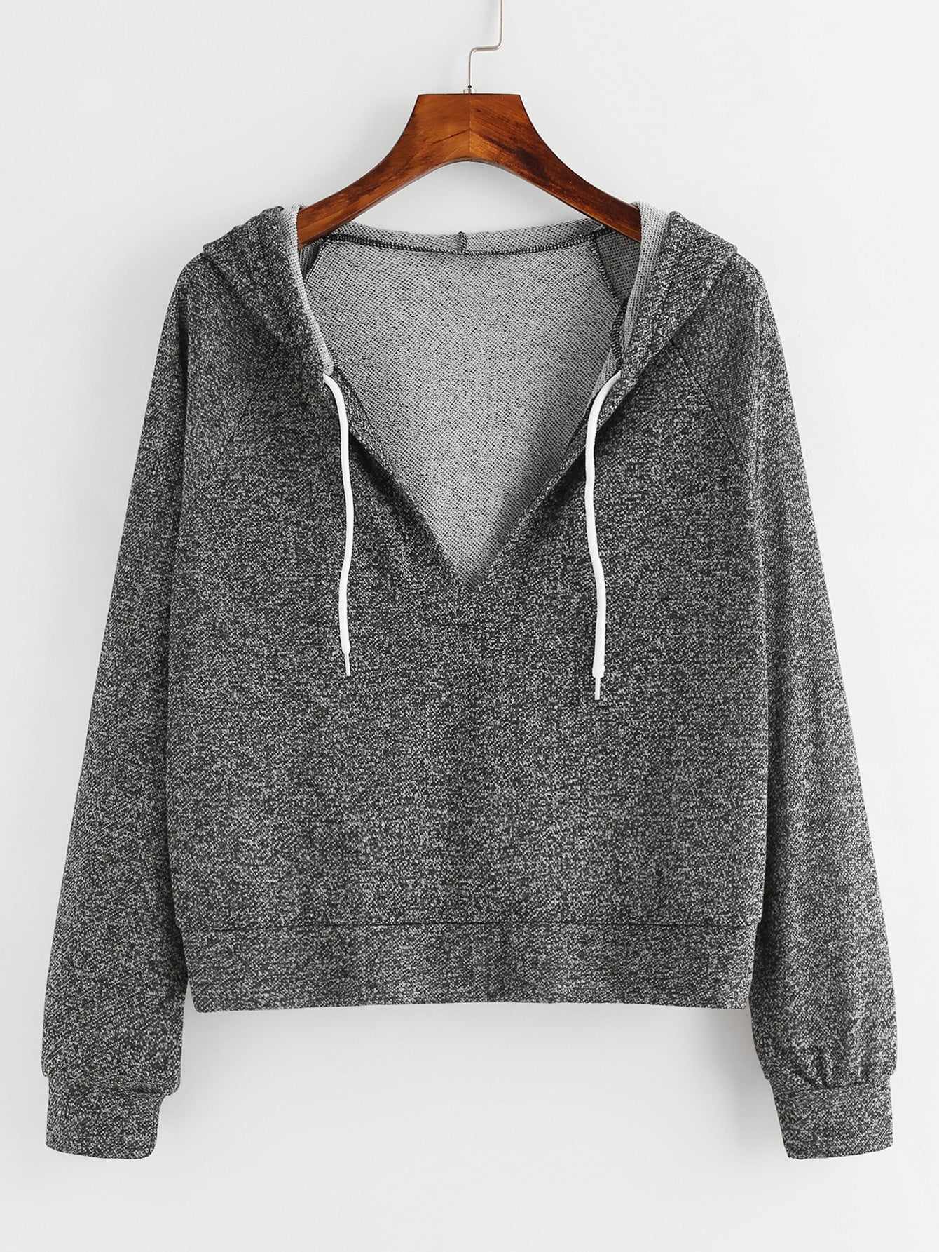 V Neckline Hooded Drawstring Raglan Sweatshirt alien print drop shoulder hooded drawstring sweatshirt