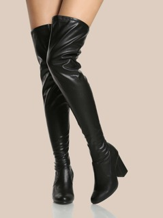 Patent Upper Thigh High Boots BLACK