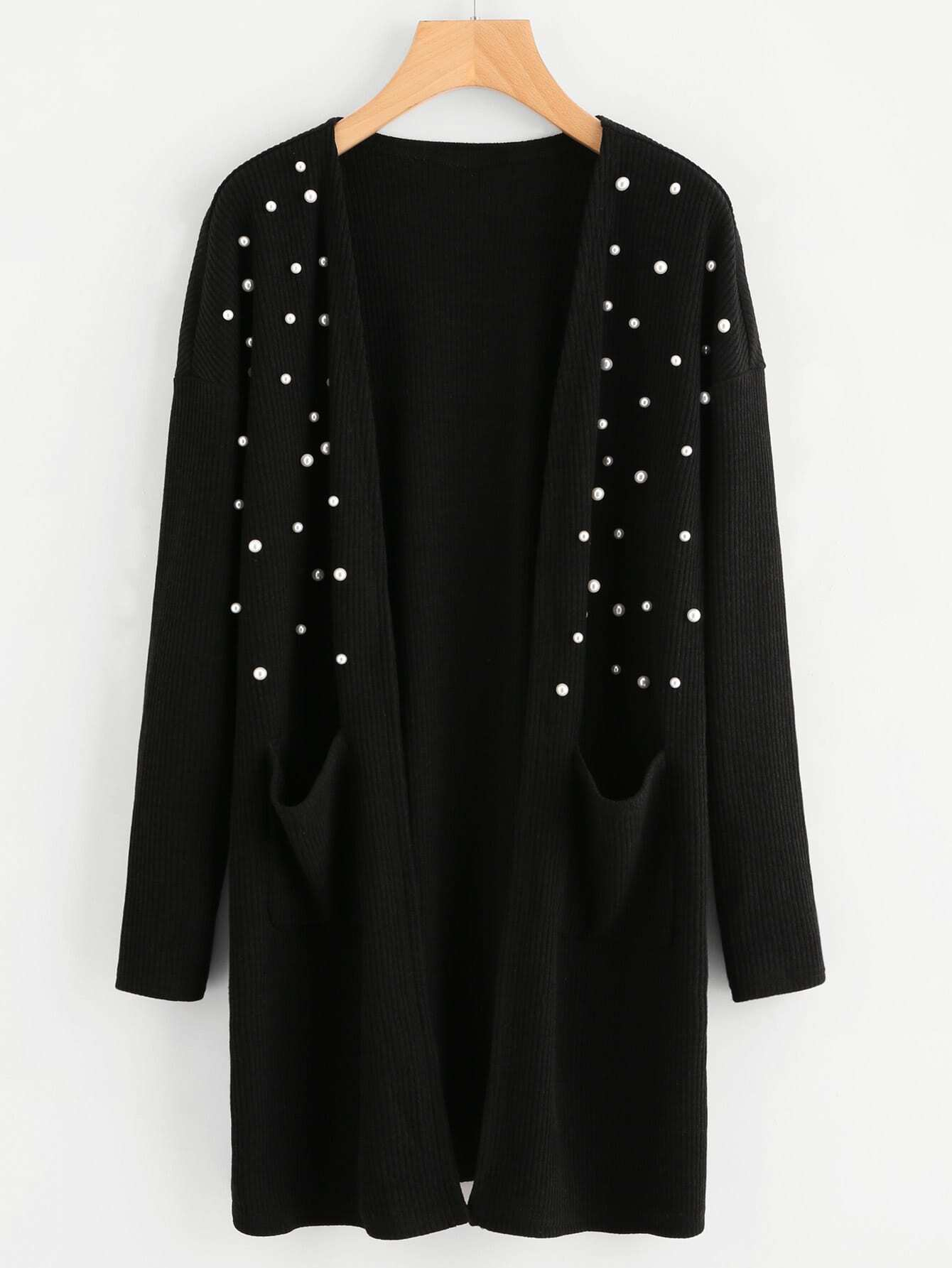 Pearl Beading Front Pocket Ribbed Coat outer170911702