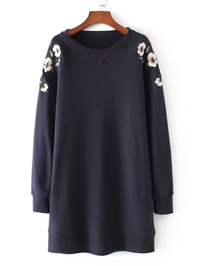 Embroidery Flower Raglan Sleeve Sweatshirt Dress