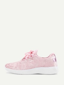 Lace Up Low Top Velvet Trainers
