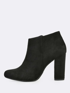 Point Toe Zip Up Booties BLACK